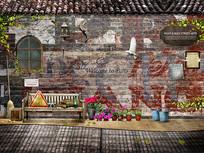 3D复古怀旧街头过道背景墙