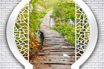3D雨后森林小桥过道背景墙