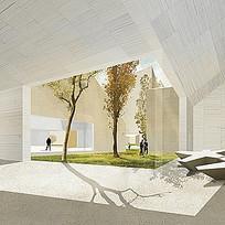 白色展馆建筑中庭景观