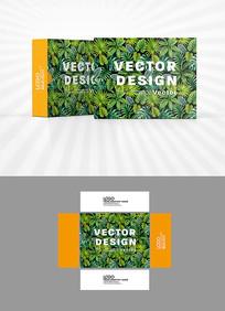 繁茂绿叶背景包装盒设计