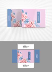 粉色玫瑰图案背景包装盒设计