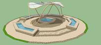 广场水池遮阳棚SU模型