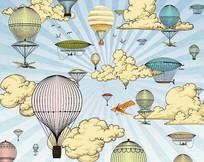 卡通抽象天空热气球背景墙
