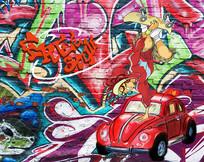 卡通嘻哈街头涂鸦背景墙