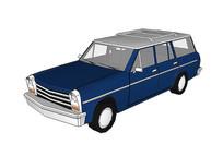蓝色老式汽车模型