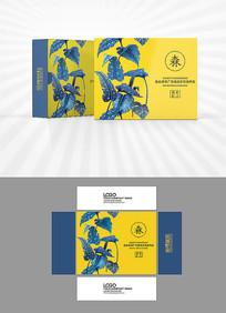 蓝色树叶包装盒设计