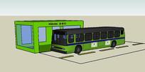 绿色公交站台