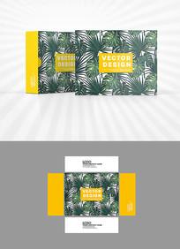 绿叶底纹背景包装盒设计