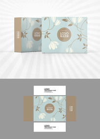 清新花朵背景包装盒设计