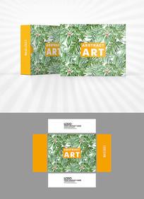清新绿叶背景包装盒设计