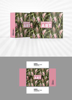 森系植物粉色背景包装盒设计