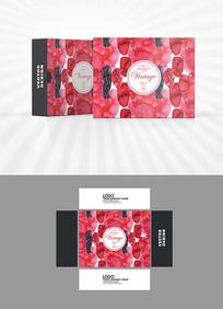 水彩红色背景包装盒设计