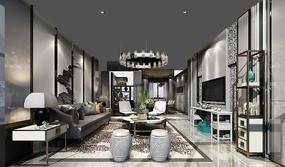 现代客厅场景模型