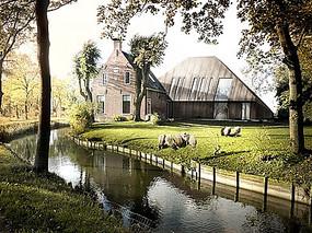 乡村别墅建筑庭院景观