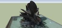 阴暗的玫瑰雕塑SU模型