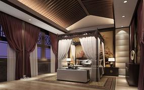 中式卧室灯光场景模型