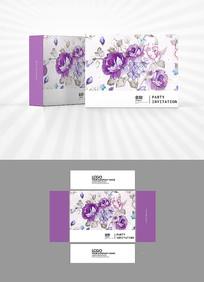 紫色花朵包装盒设计