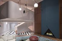 创意现代别墅蓝色背景墙客厅