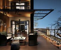 后现代别墅露台场景3D模型