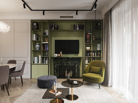 绿色电视柜背景墙客厅意向