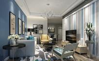 现代装修风格客厅3D模型