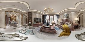 新中式客厅全景图