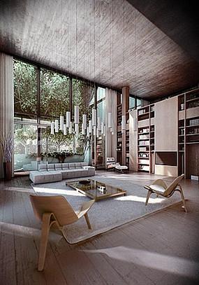 别墅室内客厅家具