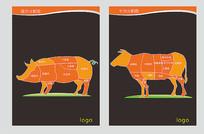超市肉类分割图素材