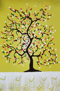 创意原创手绘彩色发财树
