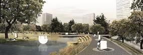 湖水湿地休闲公园效果图