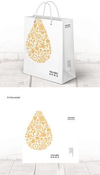简约创意水滴企业宣传手提袋 PSD