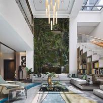 客厅巨幅盘根错节树木的背景墙