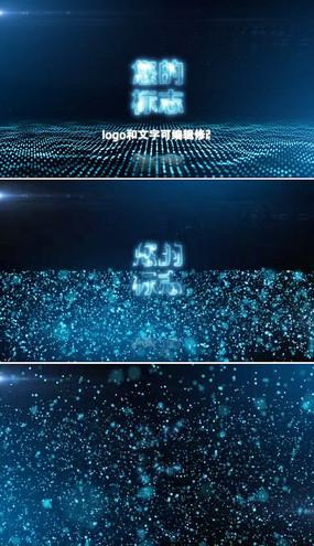 蓝色粒子边缘发光标志片头模板