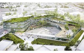 商业综合体建筑广场效果图