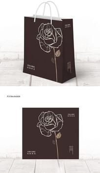 深色玫瑰鲜花宣传手提袋