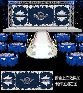 时尚蓝白花卉婚礼舞台背景