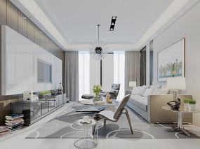 现代白色风格客厅设计