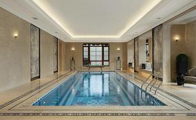欧式庄园别墅室内泳池意向