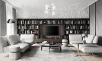 深木头色电视背景墙书柜客厅