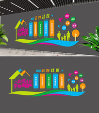 五好社区社区文化墙