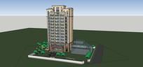 单栋十三层住宅su模型