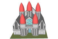 动画教堂建筑模型