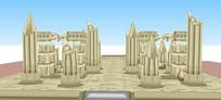 卡通神庙建筑