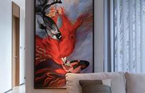 客厅沙发后的锦鲤壁画