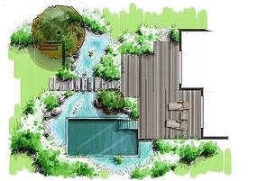 休闲躺椅泳池庭院景观 JPG