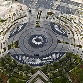 圆形景观广场喷泉观众台