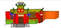 中式卡通建筑