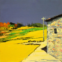 手绘乡村田园风景油画