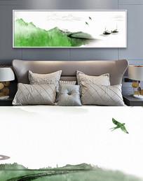 新中式水墨山横幅床头装饰画