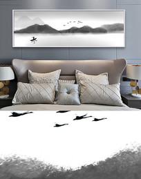 中国风意境黑白水墨床头画